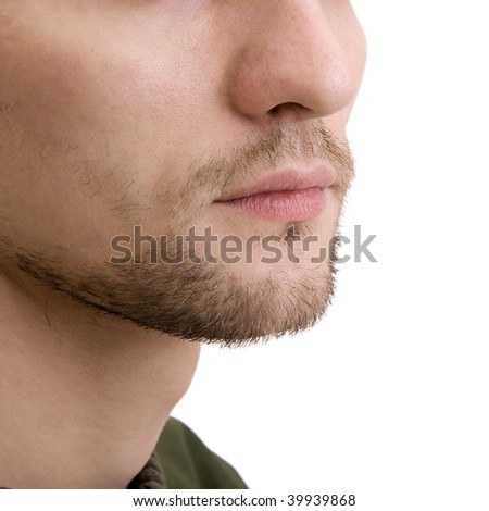 Unshaven bottom part of a man's face - stock photo