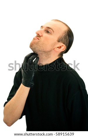 Unshaven man isolated on the white background