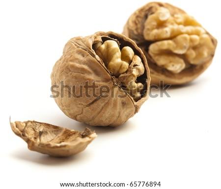 unshelled nut isolated on a white background - stock photo