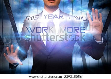 Unsmiling businessman touching against room with large window looking on city - stock photo