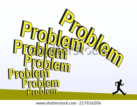 Unsolved Problem. Coward person running away from problems, which are getting bigger and bigger - stock photo