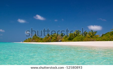 unspoilt tropical beach - stock photo