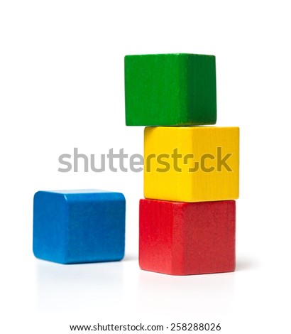 Unstable Toy Block Tower - stock photo
