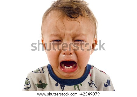 Unstoppable Crying Baby Boy - Isolated over a white background - stock photo