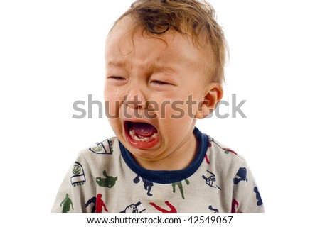 Unstoppable Crying Baby Boy, Tears all over his Face- Isolated over a white background - stock photo