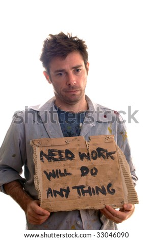 Untidy and dirty worker in desperate need of employment - stock photo