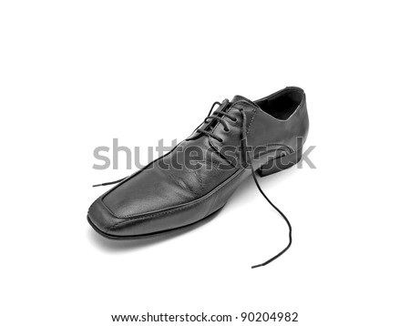 untied leather shoe