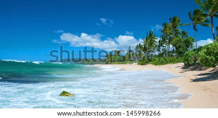 Untouched sandy beach with palms trees and azure ocean in background panorama