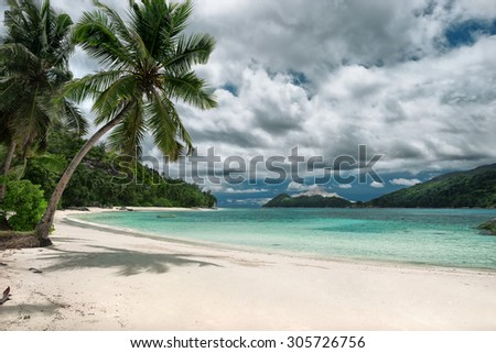 Untouched tropical beach, cloudy sky - stock photo