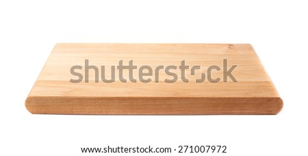 Unused brand new pine wooden cutting board isolated over the white background - stock photo