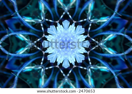 Unusual background with winter kaleidoscope that looks like large snowflake , image created from photo of colored dandelion . - stock photo