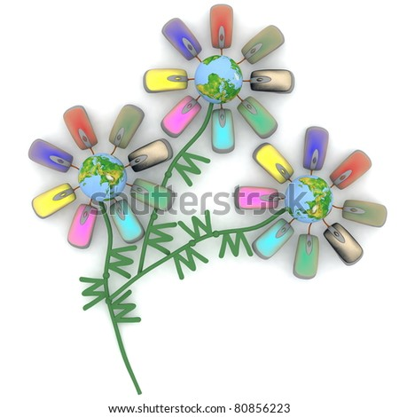 Unusual bouquet from the Internet flowers - stock photo