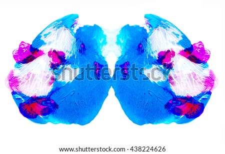 Unusual design element, blue and pink colors, isolated on white, hand painted acrylics