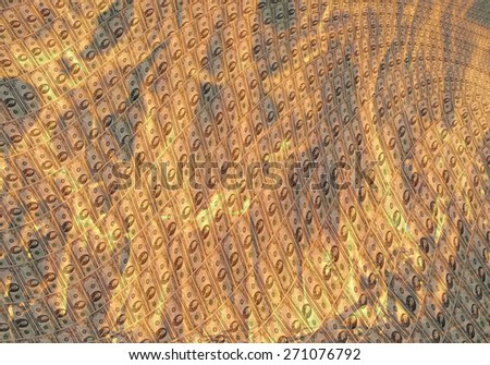 unusual dollar pattern with burning fire background - stock photo