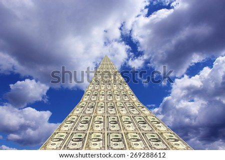unusual dollar road going away to the beautiful blue sky - stock photo