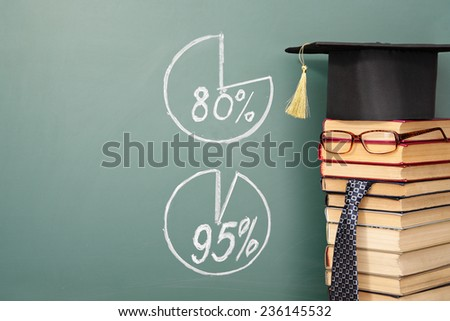 Unusual funny education concept. Teacher and diagrams - stock photo
