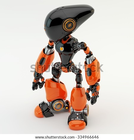 Unusual long-headed robotic creature / Bright robot - stock photo