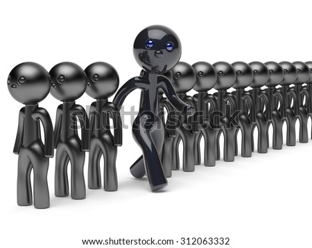 Unusual man different people stand out from crowd giant character black think differ unique person otherwise run to new opportunities concept individuality vote icon 3d render isolated - stock photo