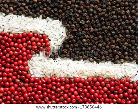 Unusual Maori flag made of food and condiments - stock photo