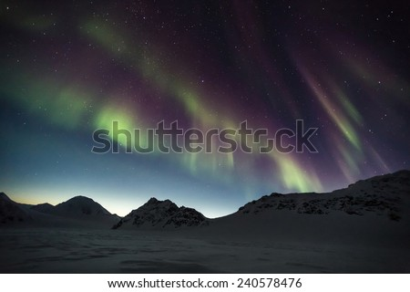 Unusual Northern Lights - Arctic landscape - stock photo
