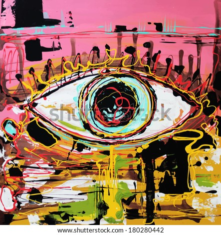 Unusual original art abstract composition of human eye. Raster version. Acrylic painting - stock photo