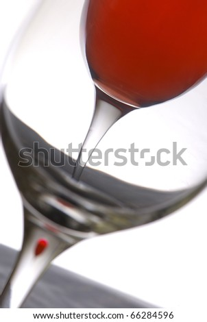 Unusual view on a glass with wine