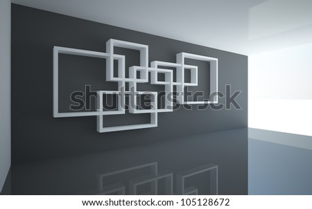 Unusual white bookshelves in the black interior - stock photo