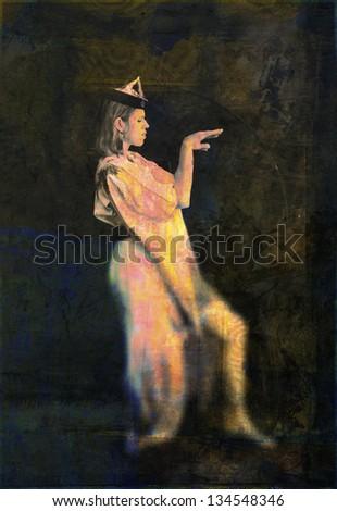 Unusual woman gesturing. Photo illustration. - stock photo