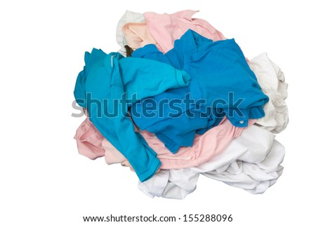 Unwashed clothes on white isolated background use for concept dirty or unclean