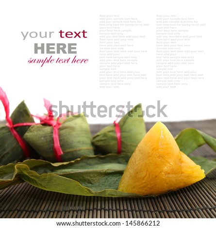 Unwrapped Chinese Rice Dumplings isolated on white - stock photo