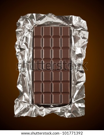 Unwrapped Chocolate Bar - stock photo