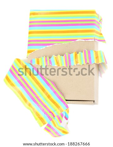 Unwrapped gift box isolated on white - stock photo