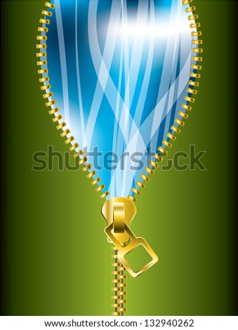 Unzipping cool green blue background with transparent ribbons - stock photo