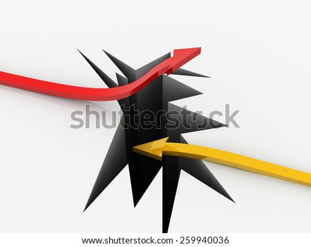 up and down arrows break up the floor and ceiling - bankruptcy, financial collapse, depression, recession, failure, money crisis, success, growth, inflation, progress, profit 3d concepts - stock photo