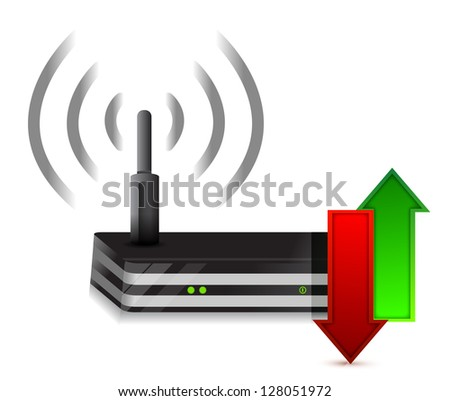 up and down arrows Wireless Router Isolated on White - stock photo