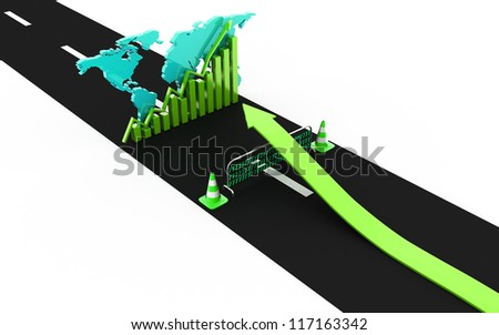 up arrow reach  business graph over the road barrier