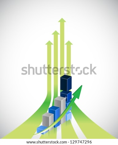 up arrows and positive business graph illustration design