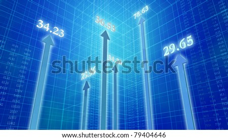 Up Arrows Numbers - stock photo