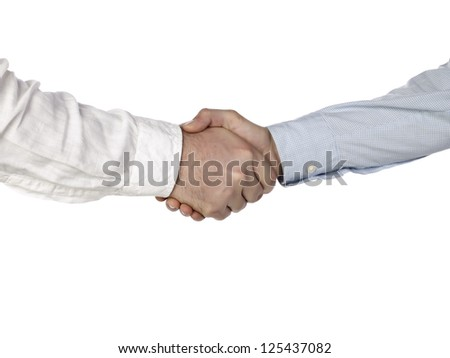 Up close firmed collaboration of businessmen against white background - stock photo