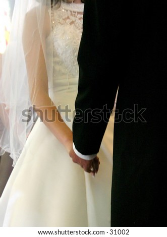 Up close intimate hands from a recent wedding. - stock photo