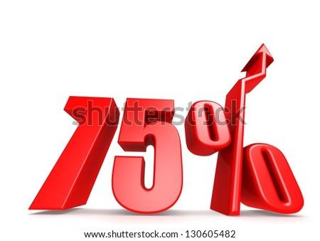 Up 75 percent - stock photo