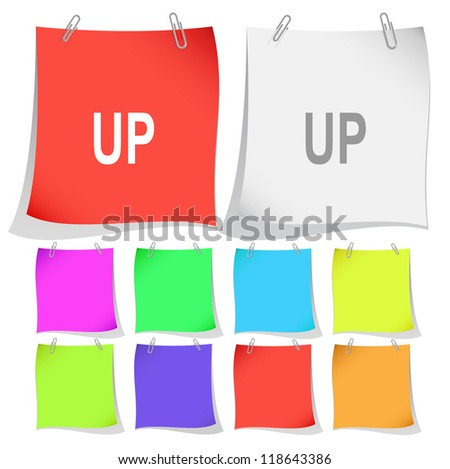 Up. Raster note papers. Vector version is in portfolio. - stock photo
