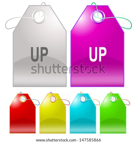 Up. Raster tags. Vector version is in my portfolio. - stock photo