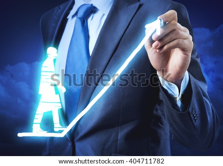 Up the success ladder - stock photo
