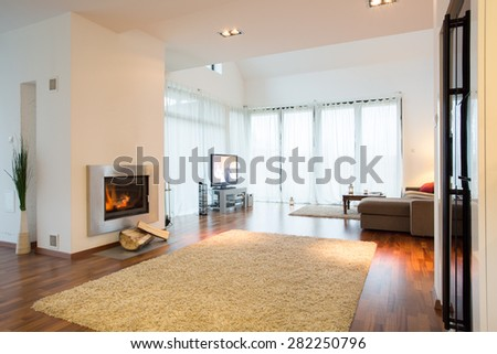 Up-to-date decor of new family room in big residence - stock photo