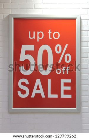Up to fifty percent off sale sign - stock photo