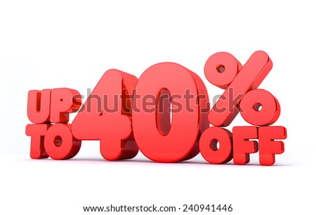 Up to 40% Off 3D Render Red Word Isolated in White Background - stock photo