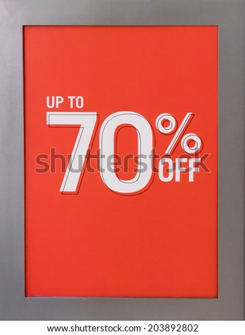 Up to 70% Off Sales Sign - stock photo