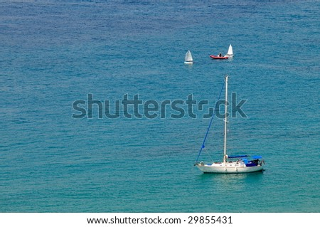 up view of sea water and boat in summer