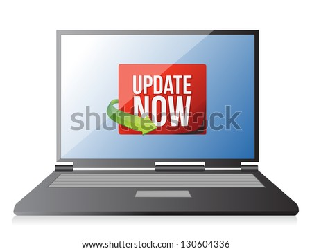 Update now label on a laptop screen illustration design over white - stock photo